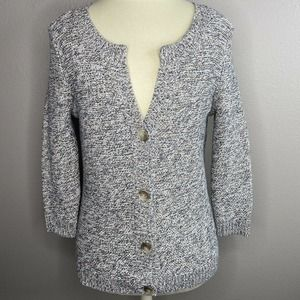 Ann Taylor Petite Brown Button-Up Long Sleeve Cardigan Sweater